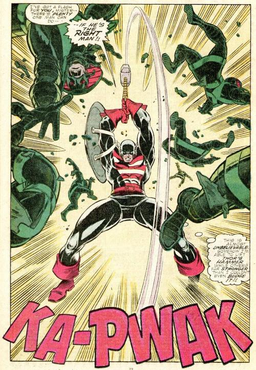 Steve Rogers as The Captain showing the strength of his character. (From The Mighty Thor, #390, Marvel Comics, 1988.)